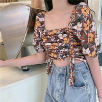 Women's Blouses & Shirts 2021 Women Bandage Retro Floral Lady Sexy Crop Top Short Sleeve Casual French Vest Blouse Blusas Cortas#G30