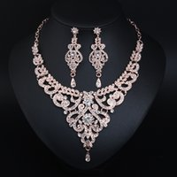 Wedding Jewelry Set Rhinestone Crystal Necklace Choker and Drop Earrings Accessories For Women Bridal Luxury Party Gift