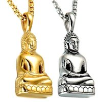 الفولاذ المقاوم للصدأ بوذا ساكياموني قلادة قلادة للرجال مجوهرات البوذية الذهب والفضة اللون القلائد
