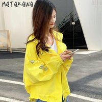Giacche da donna Matakawa corta giacca a vento 2021 Giacca da donna sciolta stile coreano anteriore e schienale lungo plus size cappotto a molla