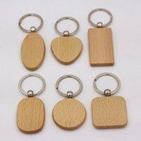 Portachiavi in legno stile semplice portachiavi per party keyrings rotondo quadrato cuore rettangolo forma chiave ciondolo fai da te keychain in legno regalo fatto a mano WY1253