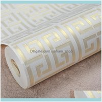 Wallpapers Décor Home & Gardenwholesale-Contemporary Modern Geometric Wallpaper Neutral Greek Key Design Pvc Wall Paper For Bedroom 0.5 X 10