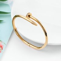 With Box Gold Silver Titanium Steel Bracelet Inlay Diamond Screw Cuff Bracelets Women Men Love Jewelry Gift 16 19 21 Size