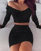 Work Dresses Spring Fashion Women Sexy Casual Two-piece Set Suit Bodycon Dress Glitter Off Shoulder Crop Top Skirt