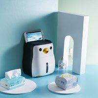 Pingüino soporte de papel higiénico Montado en la pared Punch a prueba de agua a prueba de agua a prueba de agua Caja de depósito de plástico para el hogar Rack de almacenamiento creativo portátil 210401