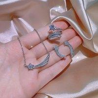 Choucong Ins top vender conjuntos de jóias de casamento de luxo 925 esterlina prata estrela lua pingente brincos de garanhão pave 5a zircon cz diamante anel de diamante anel de anel clavícula presente de colar