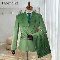 Gwenhwyfar Light Green Terno Masculino, costume de mariée pour hommes, châle tour à double boutonnage Tuxedos, blazers + gilet + pantalons costumes d'hommes