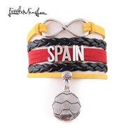 Charme Armbänder wenig Minglou Infinity Spanien Armband Fußball Leder Wrap Männer Armreifen Für Frauen Schmuck