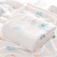 Muslin Baby Manta Algodón Recién Nacido Swaddles Baño Gauze Infant Wrap Kids Sleepsack Mochila Play Mat ZWL631