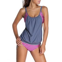 One-Piece Suits Women's Large Size Swimsuit Sexy Backless Tankini Set Two Pieces Vintage Swimwear Female Summer Beach Suit Striped Bathing