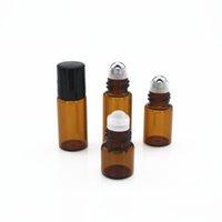 100pcs lot 1ML 2ML 3ML Portable Essential Oil Bottle Roll on Perfume Bottle Mini Metal Ball Roller Brown Glass Scent Bottles