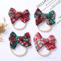 2021 girls christmas party hair accessories Baby Newborn xmas bow Headband kids snowflake plaid printed lovely Headwear chilren hairdband D187