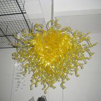 الثريات الحديثة مصابيح لون الذهب 100٪ يدوية مزينة الزجاج الثريا الإضاءة 32 بوصة الإضاءة قلادة ل فندق المنزل مكتب الفن الديكور مصباح