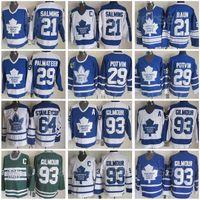 Retro Arenas Toronto Ahornblätter 93 Doug Gilmour Jersey Vintage Hockey Mike palmateer 29 Felix Potvin 21 Borje Salming 64 stanleycup blau weiß