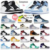 [상자 포함] 최고 품질의 유니온 대학교 푸른 농구 신발 jumpman 1 1 1s Mens 여성 디자이너 운동화 두려움없는 흑요석 UNC 특허 골드 블랙 발가락 트레이너 # 97