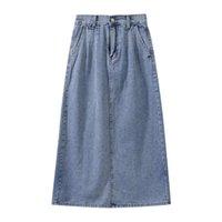 Gonne Primavera Estate Estate Qualità femminile Denim Denim Hips Gonna Vintage High Vita Lady A Linea Jeans lungo autunno