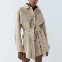 Vestes Femmes Blsqr mode avec ceinture en laine veste ennet manteau femmes vintage manches longues poches à manches longues femmes vêtements de dessus chic