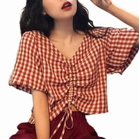 Women T-shirt Puff Sleeve Plaid Sweet Pleated Loose Blouse For Dating Women's