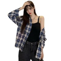 Autumn Retro Plaid Loose Blouse Female Casual Long Sleeve Turn-down Collar Shirt Office Lady Tops Free Ship Women's Blouses & Shirts