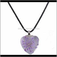 Chains Jewelry Dandelion Dried Flowers Necklaces & Pendants Handmade Heart Crystal Glass Bijouterie Choker Necklace Women1 Drop Delivery 202