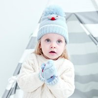 Caps & Hats Infant Pure Cotton Knitted Hat Boy Baby Cartoon Airplane Plush Ball Decoration Windproof Warm + Glove Set Autumn And Winter
