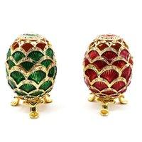 緑のファブラジュエッグの手描きの宝石類のトリンテット箱の贈り物イースターの家の装飾ドロップポーチ、バッグ