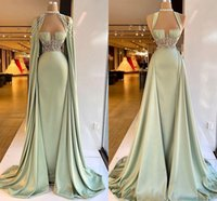 Aso Ebi 2022 Arabic Prom Formal Dresses with Long Cape Mint Sage Beaded Pleated Stain Sweetheart Celebrity Evening Dress Wear
