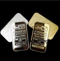 10 PZ Moneta Ameriana non magnetica JM Johnson Matthey 1 Oz Pure 24K Real Gold Gold Argento Placcato barra di lingotti con differenti EM