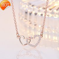 Moda çift kalp kolye, klavikula zinciri, zarif bayan kolye, aşk şeklindeki elmas set toptan A143Ezq
