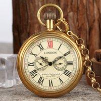 Antique Cobre Londres 1856's Antiguidades Relógios 5 Mãos Bolsos Mecânicos FOB FOB Soldando Skeleton Mens Bolso Relógio 30cm Chain