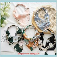 Headbands Jewelry Jewelry2021 Woman Triangle Floral Bandanas Satin Head Scarf With Clips Elasit Hairband Hair Aessories Headband Drop Delive
