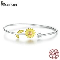 Genuine 925 Sterling Silver Gold Color Adjustable Sunflower Cuff Bangle Bracelet for Women Fine Jewelry BSB045 210512