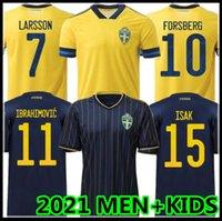 2021 Швеция Национальные футбольные трикотажки Ибрагимович Kallstrom Forsberg взрослый мужчина + детский комплект футбольный футбол
