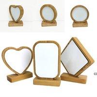 Bamboos Sublimation Blank Photo Cadre avec Base Diy Double face En Bois Double Heart Coeur Cadres ronds Magnétisme Image Peinture Décoration DHE7094