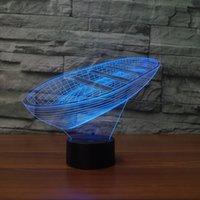 Ahşap Tekne 3D Gece Lambası, Dokunmatik 7 Renk Değişim, Optik Illusion LED Lamba USB Masa Masası Aydınlatma Çocuk Oyuncak Yatak Odası Dekor Noel Tatil Doğum Günü Hediyeleri Boy Gir