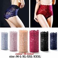 Plus Größe Sexy Frauen Nahtlose Spitze Unterwäsche Hohe Taille Damen Slip Slip Girl Transparent Solid Color Intimates (M-XXXL)
