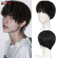 Black Blonde Short Synthetic Hair Wigs Handsome Boy Cosplay Wig Natural Fake False Hair High Temperature Fiber