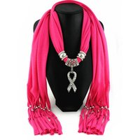 Scarves [RUNMEIFA] Many Color Available Women's AIDS Sign Red Ribbon Pendant Jewelry Scarf Simple Design Elegant Shawl For Women
