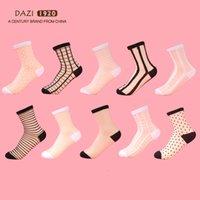Полиэстер 10 пары / лота кружева прозрачные кристаллические носки различные стиль удобный промежуточный шелковый лето лодыжки женские носки вскользь