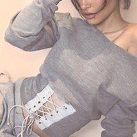 Women's Hoodies & Sweatshirts Ladies Sweatshirt Women Pullover Lace Up Cummerbund Female Long Sleeve Grey Feminino Autumn Tops