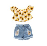 Clothing Sets Baby Girl Clothes Toddler Kids Summer Sleeve Tie-Dye Tops+Ripped Denim Shorts Outfit Girls Outfits
