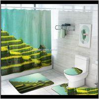 Terrazze Campo Paesaggio Paesaggio Tenda Toilet Cover Tappetino Tappeto Tappeto SET Tende da doccia impermeabile con ganci Bagno Suits VHKC4 NDOKR