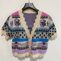 2021 Women Casual Dress Woman Sweaters Luxury Cardigan Pullover Knit Short Sleeve Summer Fashion Wear Classic Pattern Lady Tops Knitwear Ladies Sweater