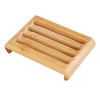 Platos de jabón de bambú natural de madera Tenedor de bandeja de baño Almacenamiento de baños Placa de estante de placa de recipiente Caja de almacenamiento de platos de baño 902 R2