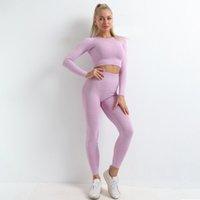 Femmes 3PCS Set de yoga sans soudure SPORT SUPPORT SUPPORT GYPWEAR VÊTEMENTS VÊTEMENTS À Manches longues Gym Culture High Taille Leggings Fitness Sports Porter
