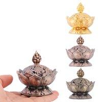 Fragrance Lamps Brass Incense Burner Stick Holder Buddhism Lotus Line Plate Sandalwood Coil Base Temples Yoga Studios Home Decoration