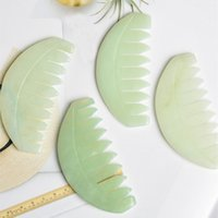 Jade Massage Comb Head Massager Hair Brush Gua Sha Board Stone Body Brushes Scalp Massaging Meridian Treatment