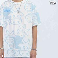 Guochao new cartoon ox head full print graffiti round neck short t-shirt men's summer hip hop loose medium sleeve T-shirt