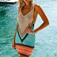 핸드 훅 크로 셰 뜨개질 해변 복장 비키니 니트 커버 UPS 여성 Vestido Playa 수영복 가운 수영복 튜닉 수영복 여성의