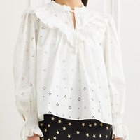 Women's Blouses & Shirts 2021 Spring Women Ruffles Blouse Long Sleeve Hollow Out Lace-Up Embroidery Ladies Tops And Female Clothes Girls